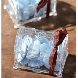 Boîtes à dragées malle aux trésors transparente 7 cm les 2