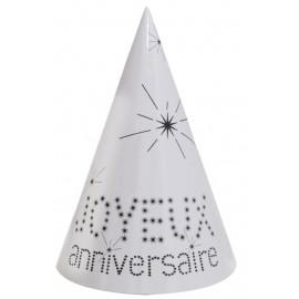 Chapeaux joyeux anniversaire carton blanc les 10