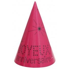 Chapeaux joyeux anniversaire carton fuchsia les 10