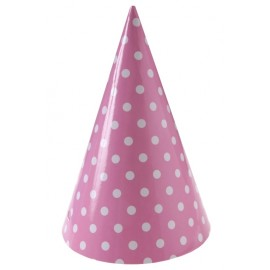 Chapeaux de fête à pois carton rose les 10