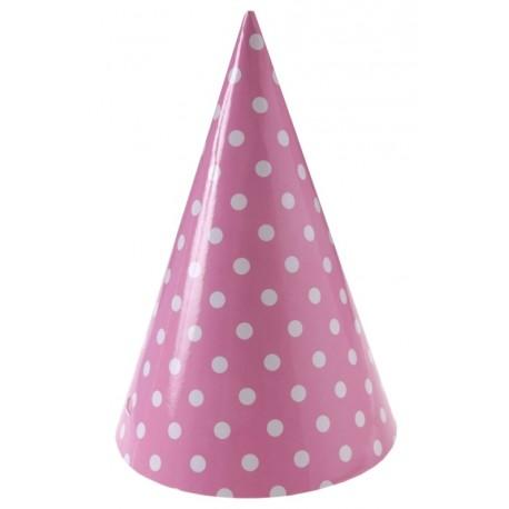 Chapeau de fête à pois carton rose les 10