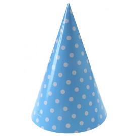 Chapeaux de fête à pois carton bleu ciel les 10