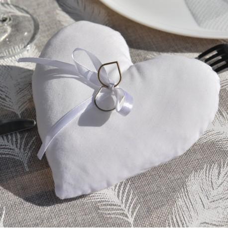 Coussin alliances coeur blanc