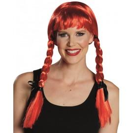 Perruque rouge à tresses avec rubans noirs femme