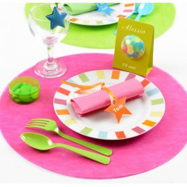 Sets de table fuchsia ronds en intissé 34 cm les 50