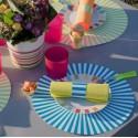Sets de table rayés ronds turquoise 34 cm les 6