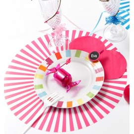 Set de table rayé fuchsia rond 34 cm les 6