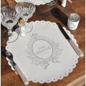 Set de table blanc Just Married rond les 6