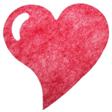 Set de table coeur fanon rouge 38 cm les 6