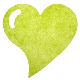 Set de table coeur fanon vert anis 38 cm les 6