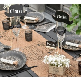 Chemin de table vintage kraft naturel et noir 3 M
