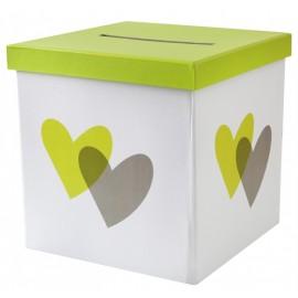Tirelire coeur vert anis et gris carton 20 cm
