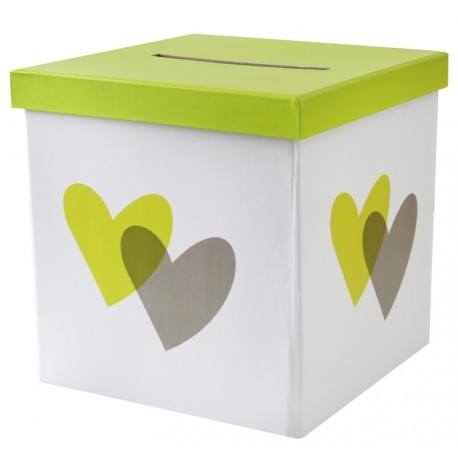 tirelire coeur vert anis et gris carton 20 cm tirelires f tes mariage. Black Bedroom Furniture Sets. Home Design Ideas