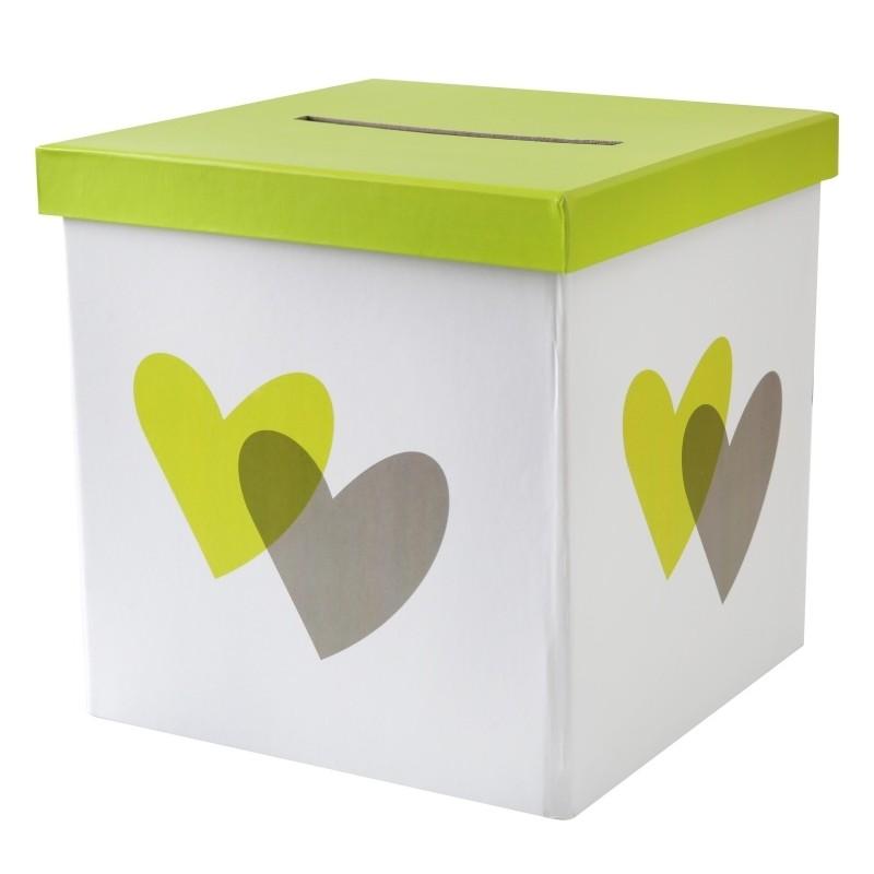 Tirelire coeur vert anis et gris carton 20 cm tirelires - Vert anis et gris ...