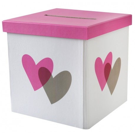 Tirelire coeur rose et gris carton 20 cm