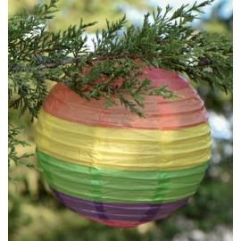 Lanternes boule papier arc-en-ciel 20 cm les 2