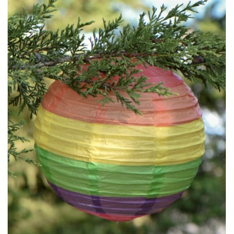 Lanterne boule papier arc-en-ciel 20 cm les 2