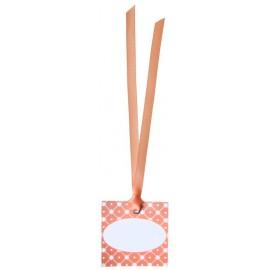 Etiquettes vintage corail carton avec ruban les 12