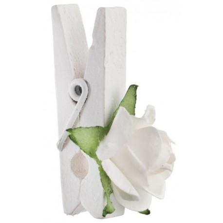Mini rose blanche sur pince déco les 4