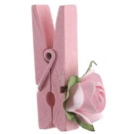Mini rose rose sur pince déco les 4