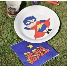 Assiette carton super héros boy 22.5 cm les 10