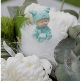 Figurine baptême bébé garçon menthe les 2