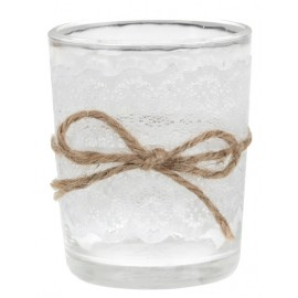 Photophore dentelle blanche en verre les 12