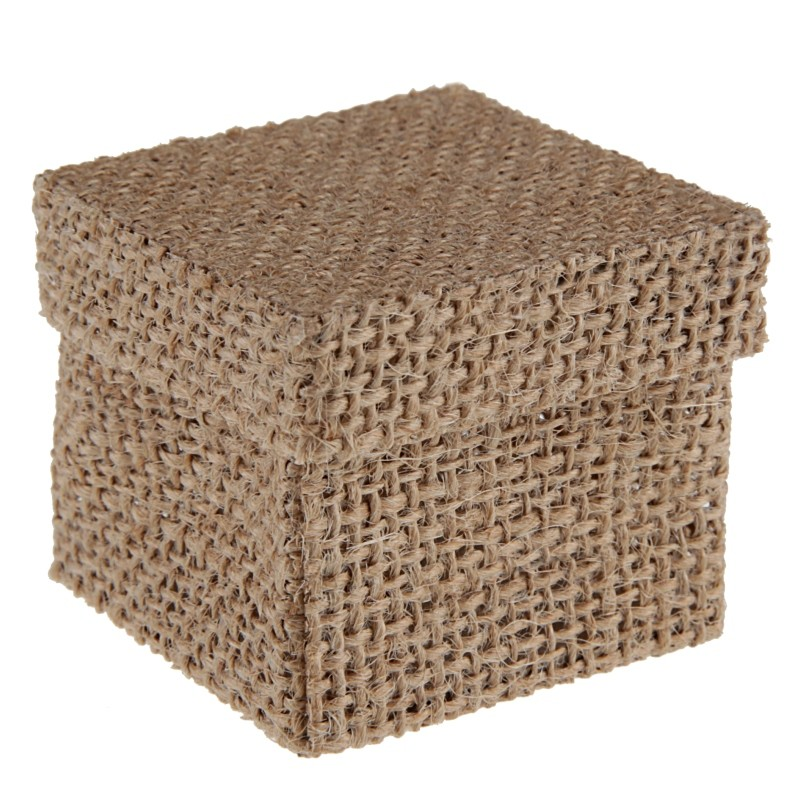 bo te drag es carr e toile de jute naturelle les 4 bo tes drag es. Black Bedroom Furniture Sets. Home Design Ideas