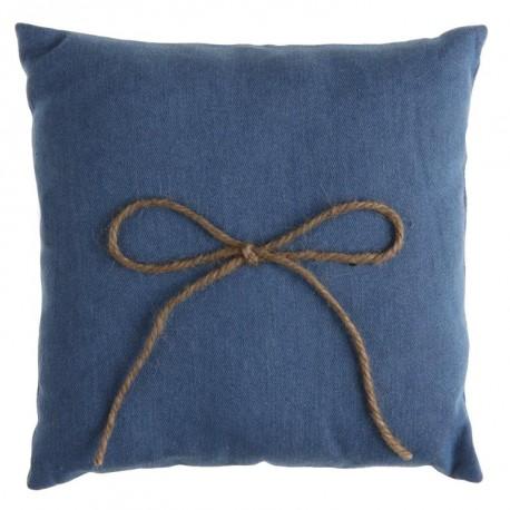 Coussin alliances coton jean bleu clair