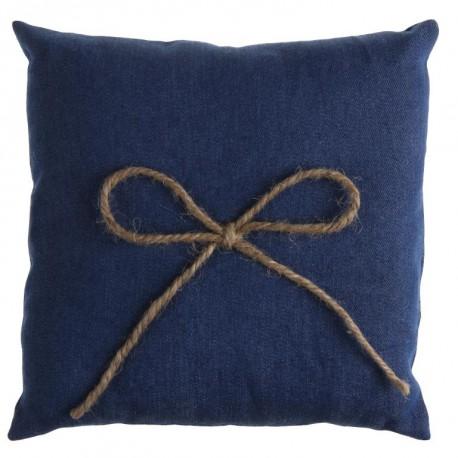 Coussin alliances coton jean bleu