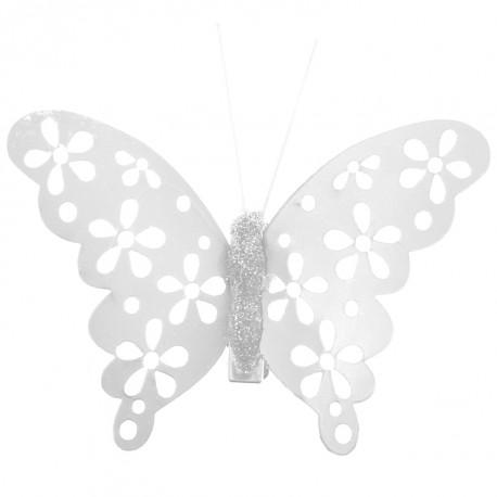 Papillon blanc métallisé sur pince les 4