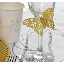 Papillons or métallisés sur pince les 4