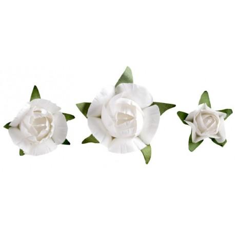 Bouton de rose blanche en papier les 20
