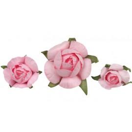 Bouton de rose rose en papier les 20