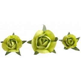 Boutons de roses vert anis en papier les 20