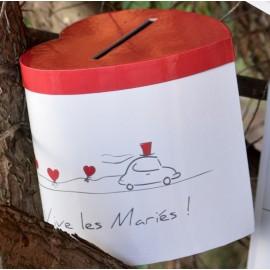Tirelire coeur Vive les mariés carton 20 cm