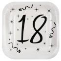 Assiettes carton anniversaire 18 ans 23 cm les 10
