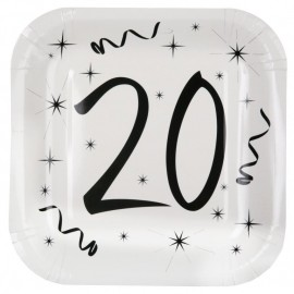 Assiette carton anniversaire 20 ans 23 cm les 10