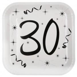 Assiette carton anniversaire 30 ans 23 cm les 10