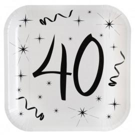 Assiette carton anniversaire 40 ans 23 cm les 10