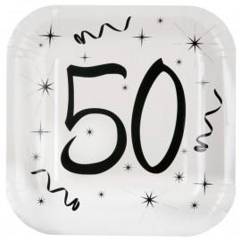 Assiette carton anniversaire 50 ans 23 cm les 10