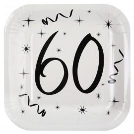 Assiette carton anniversaire 60 ans 23 cm les 10