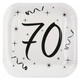 Assiette carton anniversaire 70 ans 23 cm les 10