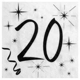 Serviette en papier anniversaire 20 ans les 20