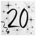 Serviettes en papier anniversaire 20 ans les 20