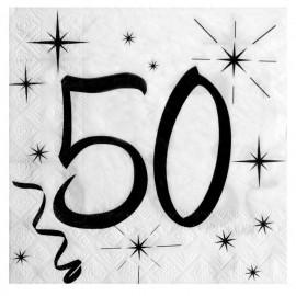 Serviette en papier anniversaire 50 ans les 20