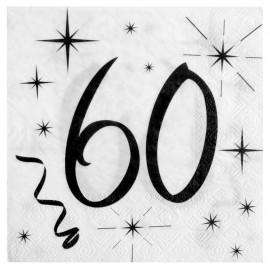 Serviette en papier anniversaire 60 ans les 20