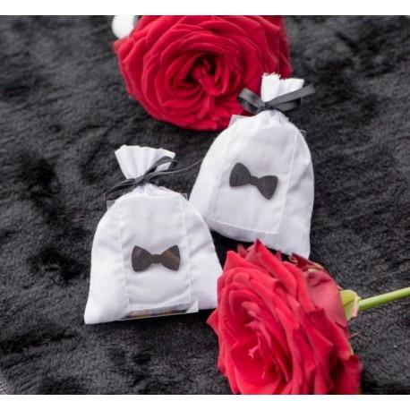Sachet à dragées coton blanc personnalisable les 6