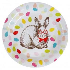 Assiette carton lapin de Pâques 22.5 cm les 10