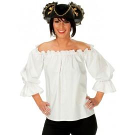 Déguisement blouse pirate blanche femme
